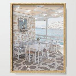 Summer In Greece Photo | Sea View Interior Design Crete Island Art Print | Europe Travel Photography Serving Tray