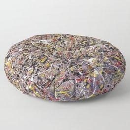 Intergalactic - Jackson Pollock style abstract painting by Rasko Floor Pillow