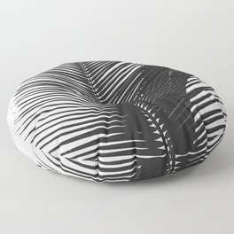 Tropical Palm Leaf Black and White Floor Pillow