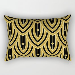 Deco Peacock - Gold Rectangular Pillow