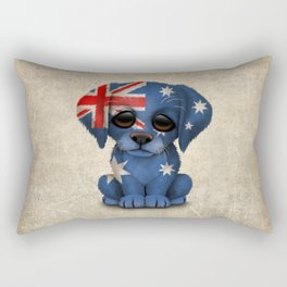 Cute Puppy Dog with flag of Australia Rectangular Pillow