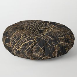 Black and gold Ho Chi Minh map, Vietnam Floor Pillow