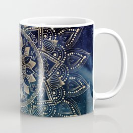 Elegant Gold Mandala Blue Galaxy Design Coffee Mug