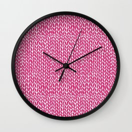 Hand Knit Hot Pink Wall Clock