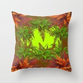 DECORATIVE GOLDEN BROWN FERN GARDEN ART Throw Pillow