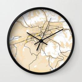 Cluj - Napoca Yellow City Map Wall Clock