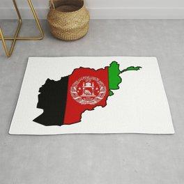 Afghanistan Map with Afghan Flag Rug