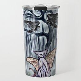 Halloween Twilight Tree with Bats, Black Ravens & Flying Cats Travel Mug