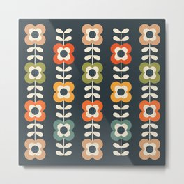 MOD FLOWERS in RETRO COLORS on CHARCOAL Metal Print