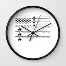 American Flag Fishing Rod Largemouth Bass Patriot Men Gift Wall Clock