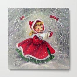Vintage Christmas Girl Winter Forest Metal Print