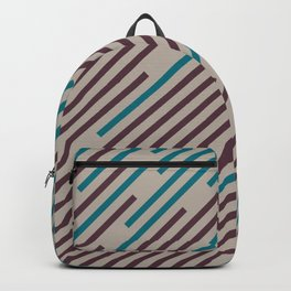 Deep Purple Taupe Gray Aqua Diagonal Line Pattern 2021 Color of the Year Epoch and Accent Shades Backpack