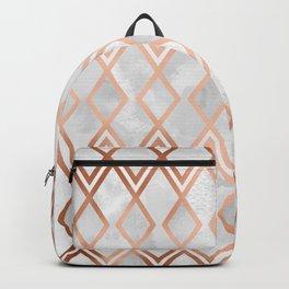 Copper & White Geo Diamonds Backpack