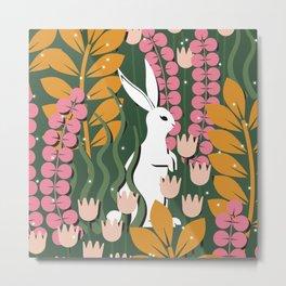 The Snow-White Rabbit Metal Print