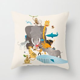 Kids Room Animals – Illustration for the sleeping room of girls and boys Throw Pillow