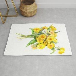 Dandelion Flowers, Herbal, herbs, field flowers, yellow floral design Rug