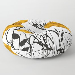 Poppy, Floral Prints, Yellow, Black and White Art Floor Pillow