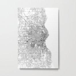 Milwaukee White Map Metal Print