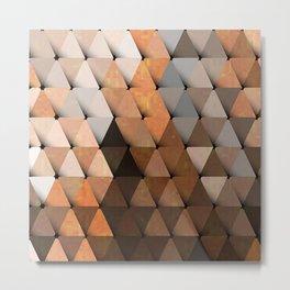 Triangles Brown Gray Metal Print