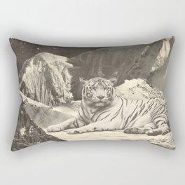 Giant White Tiger in Mountains Rectangular Pillow