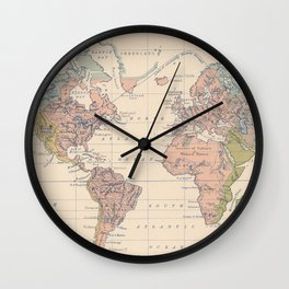 Vintage River Systems World Map (1852) Wall Clock