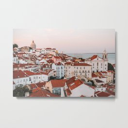 Sunset in Alfama, the Old Town of Lisbon, Portugal   Travel Photography   Metal Print