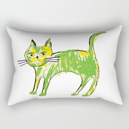 Green cat Rectangular Pillow
