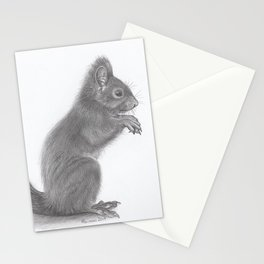 Pencil Drawing of Squirrel - Wildlife Animal Graphite Art Artwork by moiimran Stationery Cards