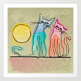 cute cats in love sitting on a roof Art Print