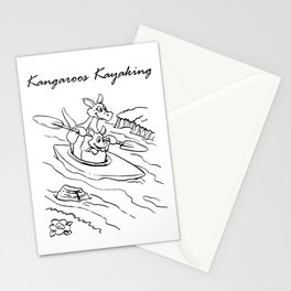 Kangaroo in the boat Stationery Cards