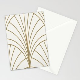 Round Series Floral Burst Gold on White Stationery Cards