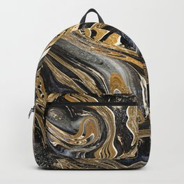 Black and Gold Liquid Marble Backpack