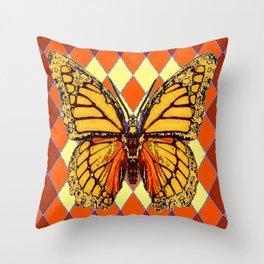MONARCHS BUTTERFLY  &  ORANGE-BROWN HARLEQUIN PATTERN Throw Pillow
