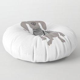 Weim Jailbird Grey Ghost Weimaraner Dog Hand-painted Pet Drawing Floor Pillow