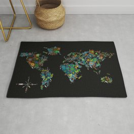 world map feathers mandala Rug