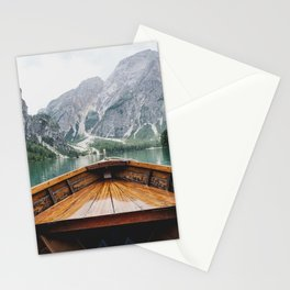 Mountain Lake with natural wood boat Stationery Cards