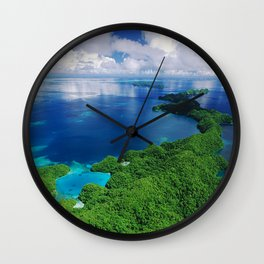 WOW!!! PALAU!! Tropical Island Hideaway Wall Clock