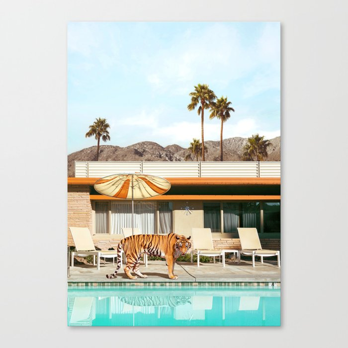 Pool Party Tiger Leinwanddruck