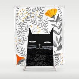 black cat with botanical illustration Shower Curtain