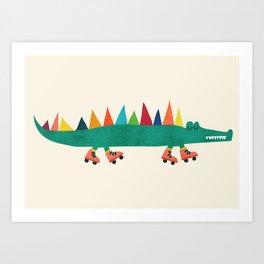 Crocodile on Roller Skates Kunstdrucke