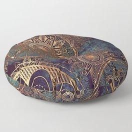 Steampunk Mandala Floor Pillow