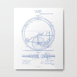 Monocycle Vintage Patent Hand Drawing Metal Print