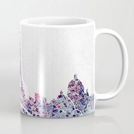 Paris Skyline + Map #1 Coffee Mug