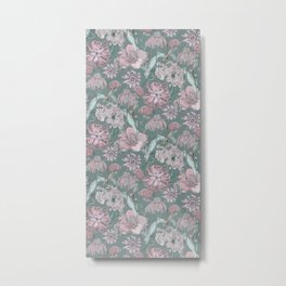 Flower green patter Metal Print