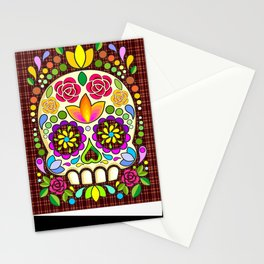 Sugar Skull Floral Naif Art Mexican Calaveras Stationery Cards