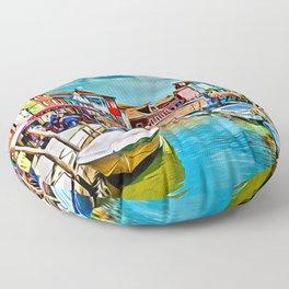 Burano Murano Island italy Digital Painting Floor Pillow