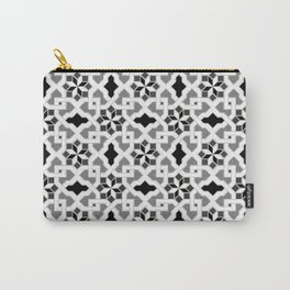 black and white -  Oriental design - orient  pattern - arabic style geometric mosaic Carry-All Pouch