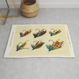 Illustrated Salmon Fly Fishing Game Fish Identification Chart Rug