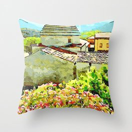 Convent building with dome and plant Throw Pillow