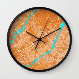 Laval, QC, Canada, Gold, Blue, City, Map Wall Clock
